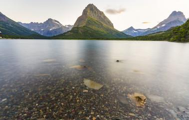 beautiful landscape at Swiftcurrent Lake  when sunrise in Many Glacier area ,Montana's Glacier National Park,Montana,usa.