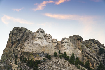mount Rushmore natonal memorial  at sunset.