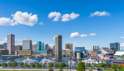baltimore,maryland,usa. 09-07-17 :  Baltimore skyline on sunny day.