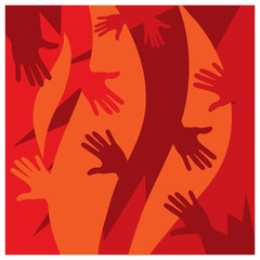 Hand on the red background. Flat background design