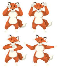 Set of fox dance moves