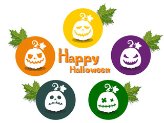 The Pumpkins Halloween icon with emotions face isolated on color background. Vector cartoon Illustration.