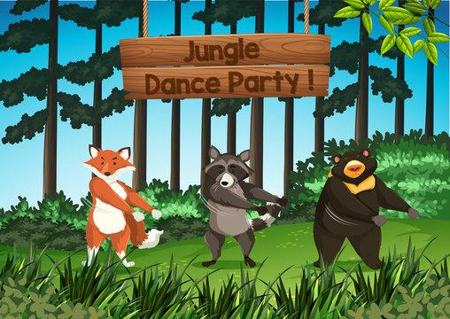 Animals jungle dance party