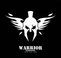 winged warrior head in white on black background