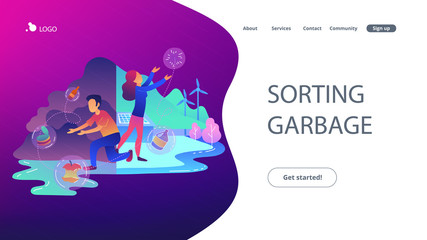 People with garbage trying to reach zero waste. Technology of ecological waste free journey focusing on landfill trash. Sorting garbage landing page. Vector illustration on ultraviolet background