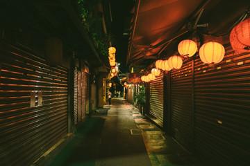 Taipei Taiwan Night Jiufen Magical Asian Lanterns Alleyways Shops Closed