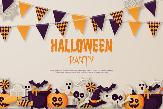 Happy Halloween Party Background with  pumpkins, ghosts, candy, witch broom, bats, cobwebs, skulls, bones, headstones, witch hats. Paper art style. Vector Illustration