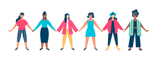 Diverse woman group holding hands together concept