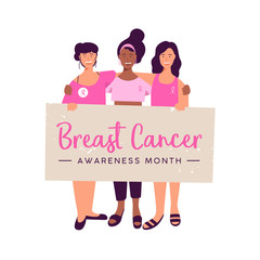 Breast Cancer Awareness month women friend group