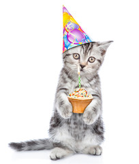 Kitten in birthday hat holding cake with candle. isolated on white background
