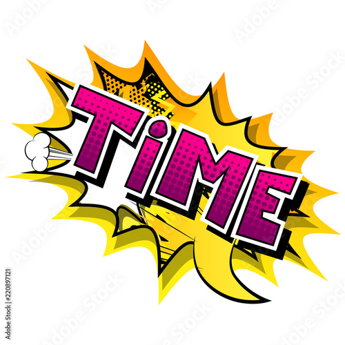 Time - Comic book style word on abstract background