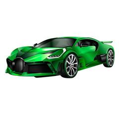 Super car design concept. Unique modern realistic art. Generic luxury automobile. Orange Car presentation side view. Rastr 3D illustration