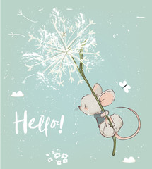 cute birthday mouse flying with flowers