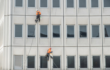 Two man rappelling from the wall for fix the damaged building in Christchurch, New Zealand.