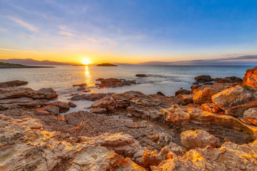Wall Mural - Peloponnese coast red rocks sunrise