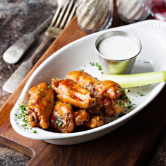 Hot wings with bbq sauce