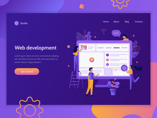 Teamwork project. The creation of a web site. Modern web banner template. Website development. Flat vector illustration. Wall mural