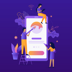 Modern vector illustration concept. Mobile app development. Teamwork project. Flat vector illustration.