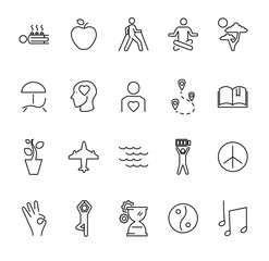 Relaxation techniques outline vector icon collection set