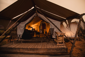 A Canvas Luxury Camping Tent Wall mural