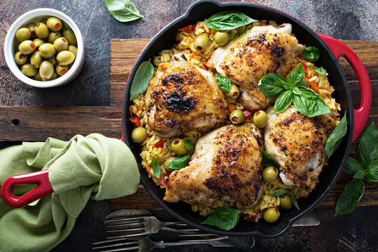 Roasted chicken thighs with rice and olives