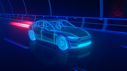 Blue glowing Modern Electric car rides through Blue tunnel 3d rendering