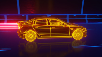 Yellow glowing Modern Electric car rides through Blue tunnel 3d rendering