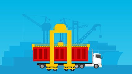 industrial activity loading/ unloading in a sea port for supply chain management illustration