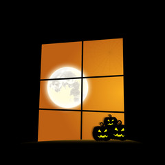 window Halloween day pumpkins space for text vector