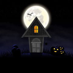 Halloween day Haunted House.pumpkins and graves smoke and moon purple background and  space for text vector