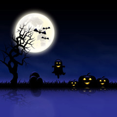 Halloween day pumpkins graves and dead tree smoke and moon purple background and space for text vector