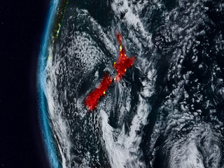 New Zealand from space during night