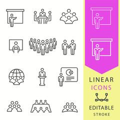 Conference icons set. Black vector illustration. Editable stroke.