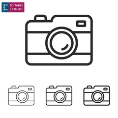 Camera line icon on white background. Editable stroke.