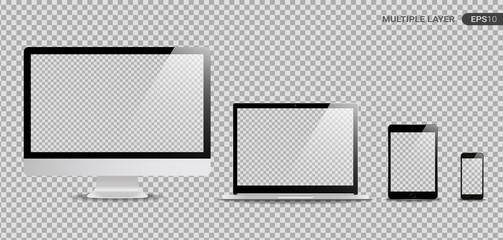 Realistic Computer, Laptop, Tablet and Smartphone with transparent Wallpaper Screen Isolated on transparent. Set of Device Mockup Separate Groups and Layers. New Easily Editable Vector.