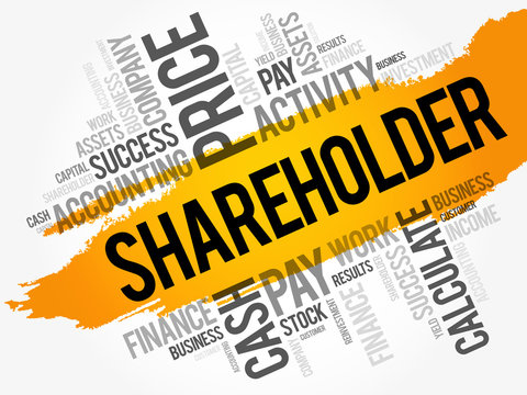 Shareholder word cloud collage, business concept background