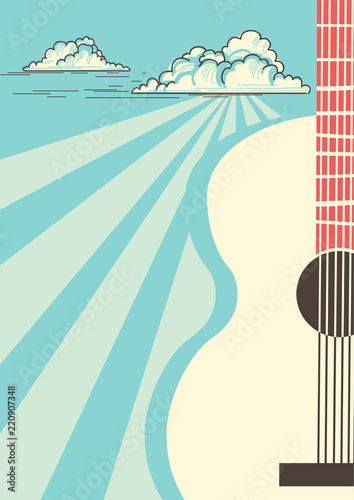 Country Music poster with musical instrument acoustic guitar