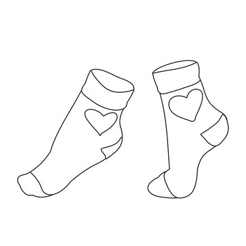 vector, isolated sketch of sock