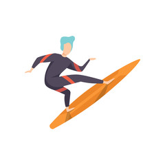 Surfer guy in swimwear riding a surfboard, young man enjoying summer vacation on the sea or ocean vector Illustration on a white background