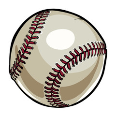 Hand drawn ball for baseball isolated on white background. Cartoon american sport equipment.