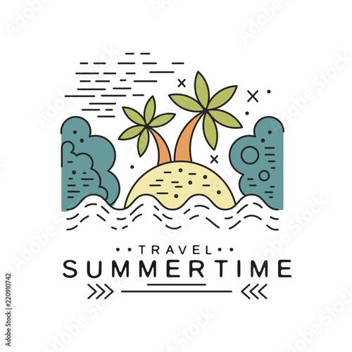 Travel summertime logo design, summer vacation emblem