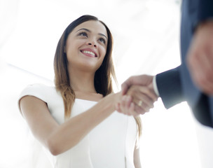 Beautiful businesswoman shaking hand with her partner
