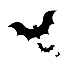 Halloween black bat icon design. Silhouettes style. Vector illustration isolated on white background.