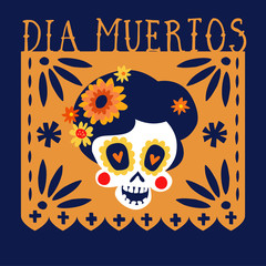 Dia de los Muertos greeting card, invitation. Mexican Day of the Dead. Handmade paper cut party flag with ornametal scull, calavera catrina and flowers. Hand drawn vector illustration, background.