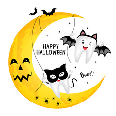 Funny cute cartoon tooth character. black cat and bat, happy Halloween day concept. Design for banner, poster, greeting card. Illustration.