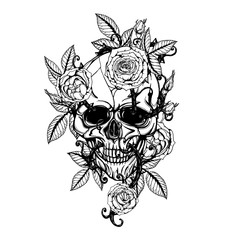 Skull with centifolia roses tattoo by hand drawing.Tattoo art highly detailed in japanese line art style.Black and white line art pattern for paint