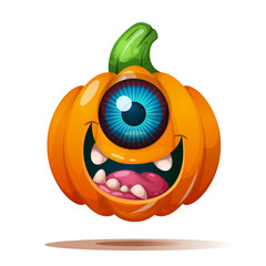 Cute, funny, crazy pumpkin characters. Halloween illustration Vector eps 10
