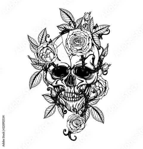 Skull With Centifolia Roses Tattoo By Hand Drawing Tattoo Art Highly