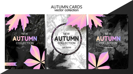 Trendy autumn background with leaves and marble texture. Sale banner template Fall seasonal poster or card. Card set .Vector illustration