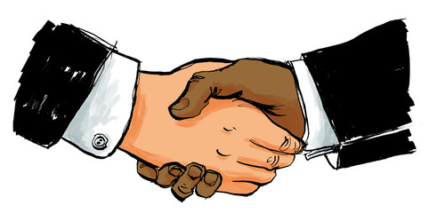 Begrüßung und Handschlag zwischen Business Partnern